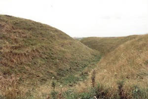 Maiden Castle Hill Fort southern rampart, Dorset